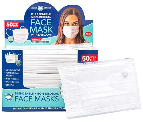 Masks on Every Face - 3-Ply Disposable Protective Masks - Individually-Wrapped Non-Woven and Non-Medical Face Masks with Adjustable Nosepiece - Box of 50 pcs.