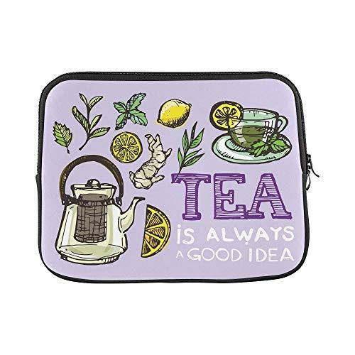 WDDHOME Design Benutzerdefinierte Hand Gezeichnete Tea Time Collection Tee Hülse Weiche Laptop Tasche Tasche Haut Für MacBook Air 11