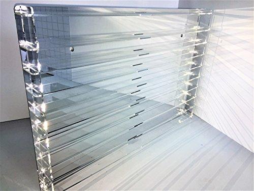 Técnicas Laser TR.4.2l9b E Vetrina di acrilico, trasparente, fondo specchio, montata misurazione 50x 75x 5(altoxanchoxfondo), Set di 14pezzi