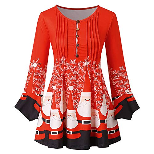 New Christmas Red Snowman Santa Claus Printed Blouses Womens Plus Size Long Sleeve Button Keyhole T-...