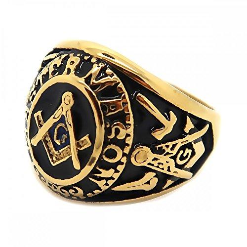 BOBIJOO Jewelry - Zegelring Vrijmetselarij Master, Vrijmetselaars, Gouden Fijn Goud, Blauw, Zwart, Staal