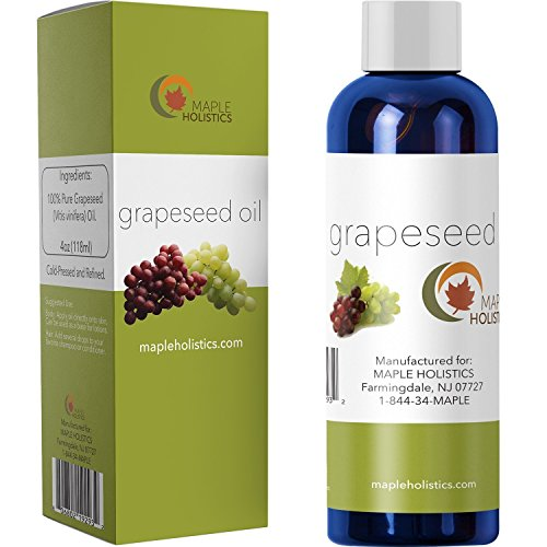 Pure Grapeseed Oil for Hair, Face & Acne - Cold Pressed & 100% Pure for Highest Efficacy - Great Massage Oil Base - Use to Prevent Aging & Wrinkles - 4 Oz - USA Made By Maple Holistics by Maple Holistics
