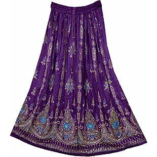 Customer reviews Stunning Ladies Indian Boho Hippie Gypsy Sequin Summer Sundress Maxi Skirt M L (PURPLE MAUVE):Dailyvideo