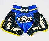 Dr. K.O. Pantalones Cortos Muay Thai y Kick Boxing para Adultos y niños (Azul, L)