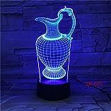 Vase à fleurs bouteille 3D lampe de table acrylique veilleuse USB sommeil lampe de Table luminaire veilleuse chambre décor 655