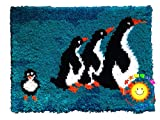 Latch Hook Kits De Impresión De Dibujos Animados con Herramienta Básica e Instrucciones para Hacer Pingüino Lindo Alfombras,Penguin,52x38cm/20x15inch