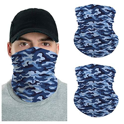 VTH GLOBAL Pack 2 Camo Pattern UV Multipurpose Neck Gaiter Camouflage Bandana Balaclava for Men Women Summer Sun Dust Protection (Blue Camo)