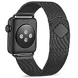 Funbiz Armband Kompatibel mit Apple Watch 38mm 40mm 42mm 44mm, Atmungsaktives Edelstahlgewebe Armband Smartwatch Metall Ersatzband für iWatch Series 5 4 3 2 1, 42mm/44mm-Schwarz
