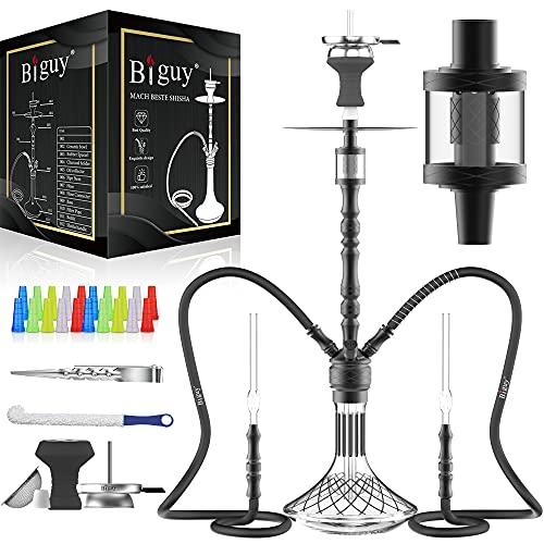 Biguy® Kit de narguilé premium | Pipe à eau en aluminium 91 cm avec 2 tuyaux et embout en verre | 4 raccords – 18/8 | Tête de narguilé & tamis à tabac | Attrape-molasse | Kit de nettoyage