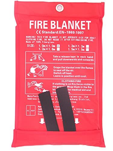 Toneeko Coperte antincendio in vetroresina per sopravvivenza di emergenza, protezione ignifuga e isolamento termico, progettata per cucina, camino, griglia, auto, campeggio (1x1m)