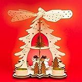 Sikora P27 Teelicht Holz Weihnachtspyramide mit Engeln H:26cm