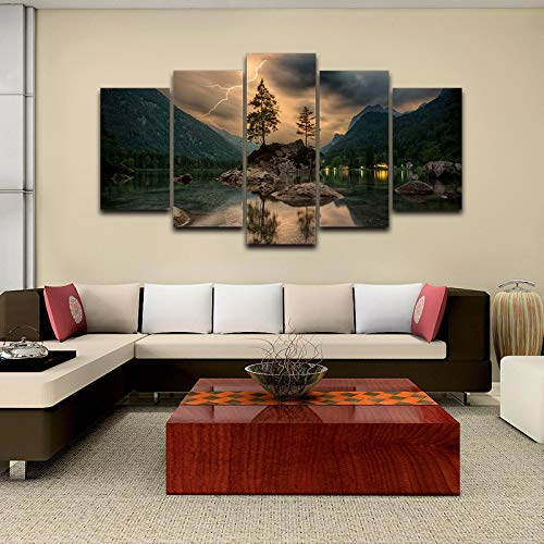 PBJUBM Canvas Print Wall Art Picture For Home Decor Mountain Lake Sky Lightning 5 Pieces Paintings Modern Living Room Office Stretched And Framed Artwork Oil Wall Pictures Photo Prints On Canvas 200X1