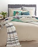 Martha Stewart Full Queen Comforter Set Cotton Linen Tan Reversible 3 pc