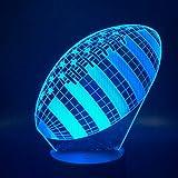 Nndxh 3D Rugby Football Balle De Sport Jeu De Décoration De Chambre 7 Meilleur Enfants Cadeau De Nuit Veilleuses En 7 Couleurs