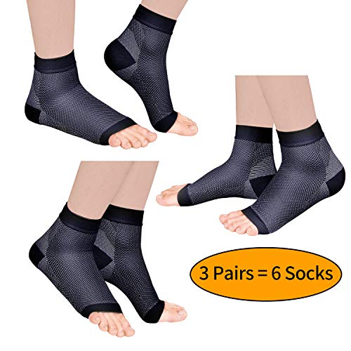 Laneco Plantar Fasciitis Sock (3 Pairs), Compression Foot Sleeves with Heel Arch & Ankle Support, Great Foot Care Compression Sleeve for Men & Women