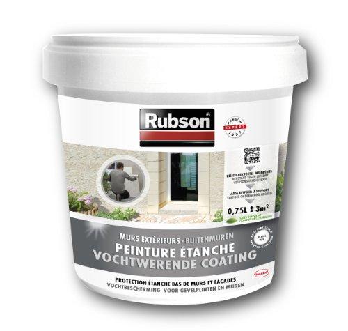Rubson Stop - Pintura impermeabilizante (para bajos de paredes exteriores, bote de plástico de 0,75 L), color blanco