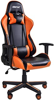 Merax Gaming Chair Office Computer Desk Chair Racing Style High Back PU Leather Chair Swivel Chair with Headrest and Lumbar Support (Black and Orange)