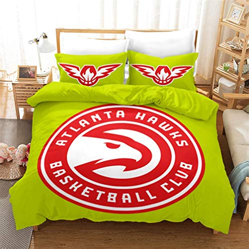 QINIMEN Bettbezug Microfaser 3D-Sport-Basketball-Bettbezug-Set, 3 Stück NBA Basketball (Atlanta Hawks) Reißverschluss Tröster Abdeckung für Jungen, Kinder und Teenager,259 * 229cm