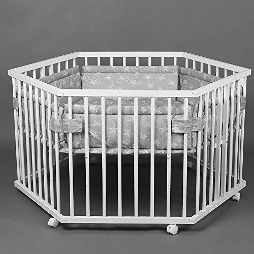 Babylaufstall Laufgitter Laufstall 6-eckig Baby Krabbelgitter inkl. Stoffeinlage 52304W-D02