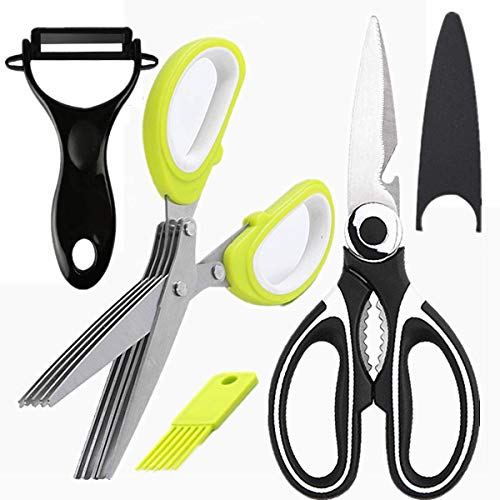 kitchen Gadgets Kitchen Shears, 3 Pack Set Scissors All Purpose, Kitchen Scissors Heavy Duty Meat Scissors, poultry shears , Stainless Steel Sharp Utility Food Scissors + herb Scissors + Peeler