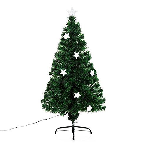 homcom Albero di Natale Artificiale in Fibra Ottica con 16 luci LED a Forma di Stella Altezza 120 cm foltissimo