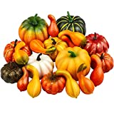 Elcoho 20 Pieces Realistic Artificial Pumpkins Fall...