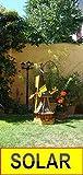 XXL,Windmühle, wetterfest,robust mit Bitumen, MIT WINDFAHNE Windrad-Seitenruder, Windmühlen Garten, imprägniert + kugelgelagert 1,30 m groß in schwarz anthrazit dunkelgrau dunkel, mit SOLARBELEUCHTUN
