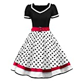 Women's Vintage 1950s Polka Dot Retro Cocktail Swing Dress Short Sleeves Square Neck A Line Rockabilly Formal Prom Evening Party Dresses with Waistbelt White Medium