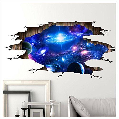 Stickers Galaxie 3D Stickers Muraux, Autocollant Murale Décoration pour Enfants Chambre Salon, Papier Peint Adhésif Décoratif, Deco de Geek Stickers de Plafond Planète 3D pour Garçons Filles. (Bleu)
