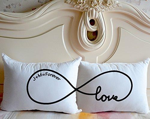 Regalo per matrimonio o per anniversario, coppia di federe in cotone per cuscino con simbolo di infinito e scritta in lingua inglese 'love', personalizzabili love
