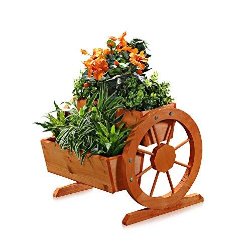 Melko Wagenrad Pflanzkübel aus Holz 44 x 42 x 40 cm – schöner Deko-Pflanzkübel mit großen Wagenrädern, Pflanzkarre, Fichtenholz