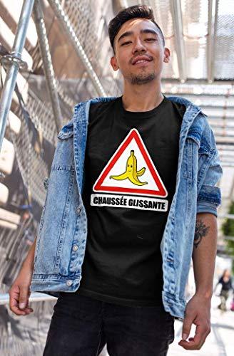 Okiwoki T-Shirt Noir Mario Kart parodique La Banane : Chaussée Glissante ! (Parodie Mario Kart)