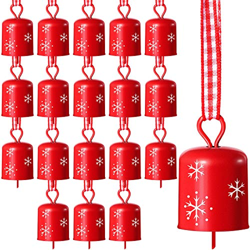 18 Pieces Christmas Bells Christmas Tree Ornament Bells with Snowflake Cutout Christmas Craft Bells for Festival Decorations