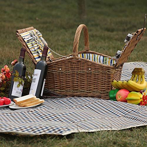 514G9HvFTEL - fang zhou Delux Rattan Picknickkorb, Doppeldeckel Classic tragbar, 4-Personen-Picknickzubehörset Ablagekörbe Grillzubehör, passend für Park Beach
