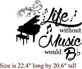 Walls with Style Life Without Music Would B Flat Music Lovers Decals (Black, Piano A)