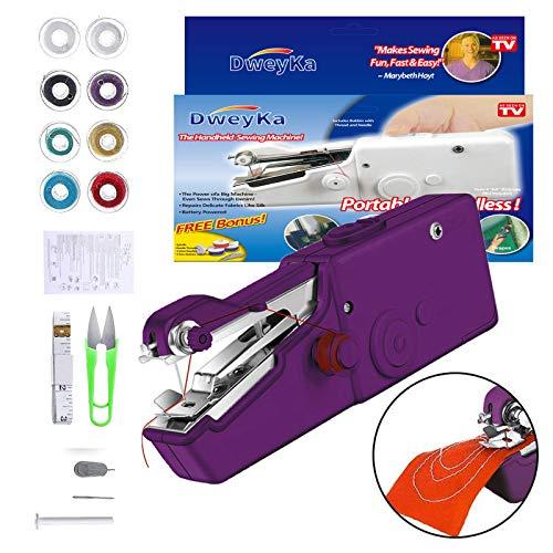 Mini Máquina de Coser Manual, 18 Piezas, Máquina de Coser Eléctrica, Portátil, Puntada Rápida y Manejable Para Tela, Para Uso Doméstico y de Viaje (Purple)