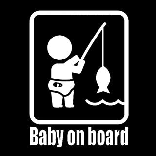 Baby On Board Fishing Funny Car Reflective Sticker Window Body Decal Decoration - White
