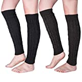 Loritta 2 Pairs Women Knit Leg Warmers Winter Warm Long Boot Socks,D(Black+Dark Grey)