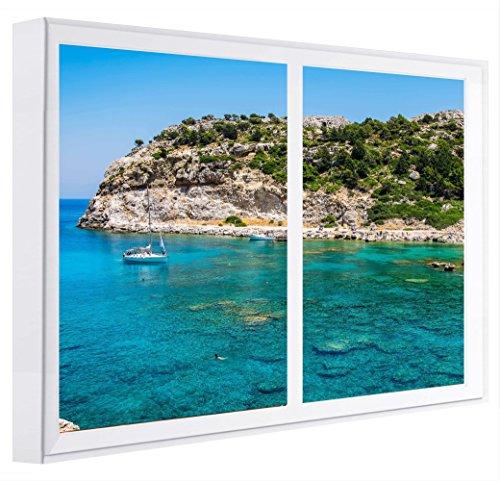 CCRETROILUMINADOS Bahía De Rhodes Grecia Cuadros Decorativos Ventanas Falsas con Luz, Madera, Blanco, 80 x 80 x 6.5 cm