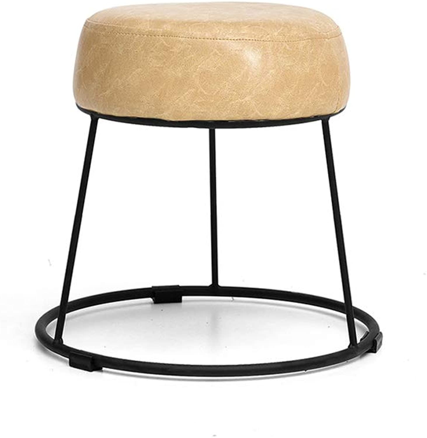 LJHA ertongcanyi Upholstered Footstool, Round Wrought Iron Fabric Sofa Living Room Bedroom Home Stool Change shoes Bench (color   3, Size   28.5  36cm)