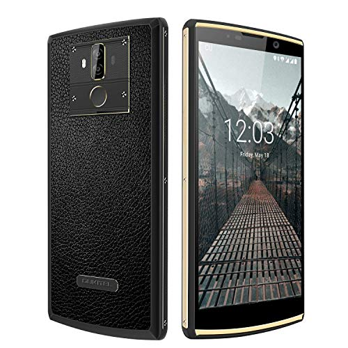 OUKITEL K7 Pro Smartphone 10000mah 6.0 Pulgadas Pantalla 18: 9 Moviles Libres Android 9.0 Dual Tarjeta Teléfono Helio P23 Octa Core 4GB 64GB ROM Cámara 13MP +5MP Diseño de Cuero GPS OTG Dual SIM
