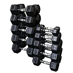 Body Solid SDRS550 5-50 lb Rubber Hex Dumbbell Set