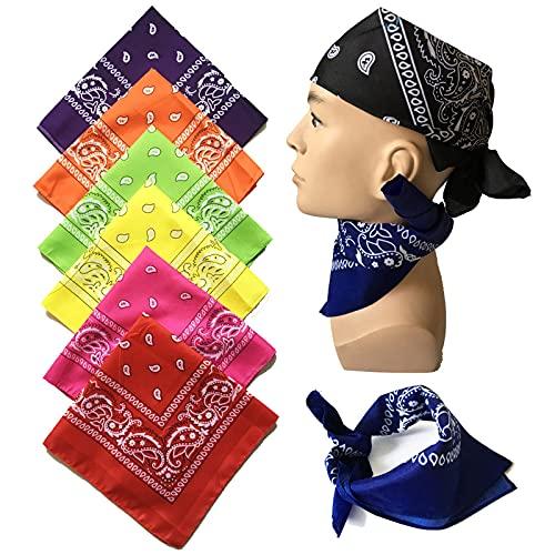 Hou Hexin Trade Powerking Bandanas para hombres y mujeres, paisley Bandanas y pañuelos para hombres y mujeres 100% algodón Bandanas, 8 PCS (Color : Multi-colored 8pcs, tamaño : 55x55cm)