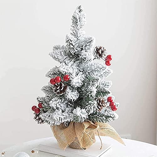 dmedc Árbol de Navidad Snow Flocking y Bayas con Mantel Base Oficina Decoración del hogar Mini árbol de Navidad (Color : A, Size : 90cm/3ft)