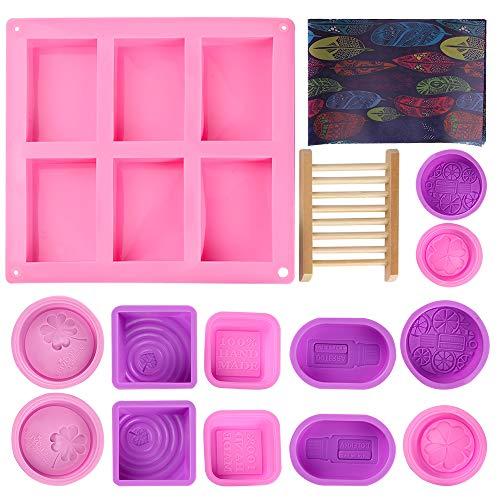 Uponer 15 Stück Seifenform Silikon Set DIY Handgemachte Silikonseifenform mit Öliges Verpackungspapier und Seifenständer für Seife DIY Formen für Backen,Kuchen,Schokolade