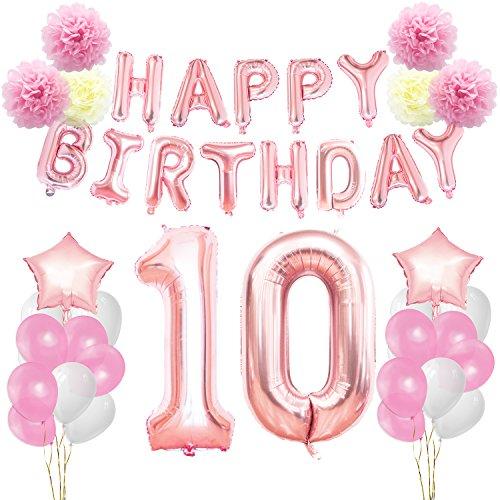 KUNGYO 10ème Anniversaire Décorations Kit Rose Or Happy Birthday Bannière- Géant Numéro 10 et étoiles Hélium Foil Ballons Rubans Papier Pom Fleurs Fournitures de fête pour Les Femmes