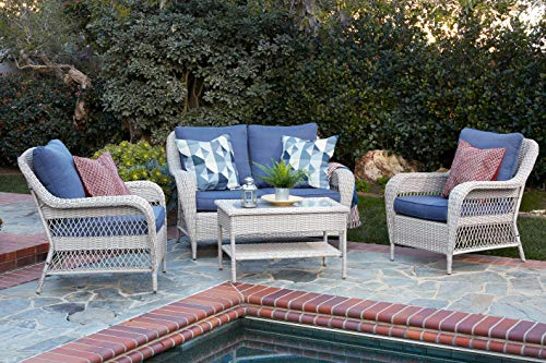 Quality Outdoor Living 65-51018D Seacrest All-Weather 4 Piece Deep Seating Set, White Wicker + Blue Cushions