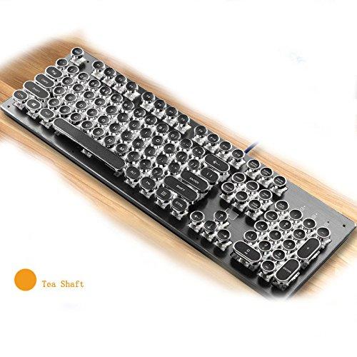Tastiera meccanica Steampunk Asse blu Asse nero Asse da tè Computer desktop Retroilluminazione Gioco Wired 104 Key (Color : Tea axis)