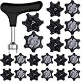 24PCS Easy to Change Studs, Universal Anti Skid Golf Shoes, Golf Spikes Golf Kicks Golf Shoe Spikes Replacements Golf Replacement Spikes, Golf Cleats Shoes Spikes with Golf Spike Wrench (Black)