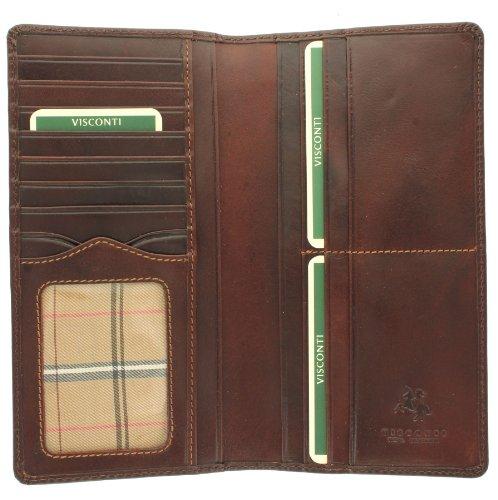 Visconti Monza Kollektion Herren-Brieftasche Turin, Leder, pflanzlich gegerbt mit RFID-Schutz MZ6 Braun